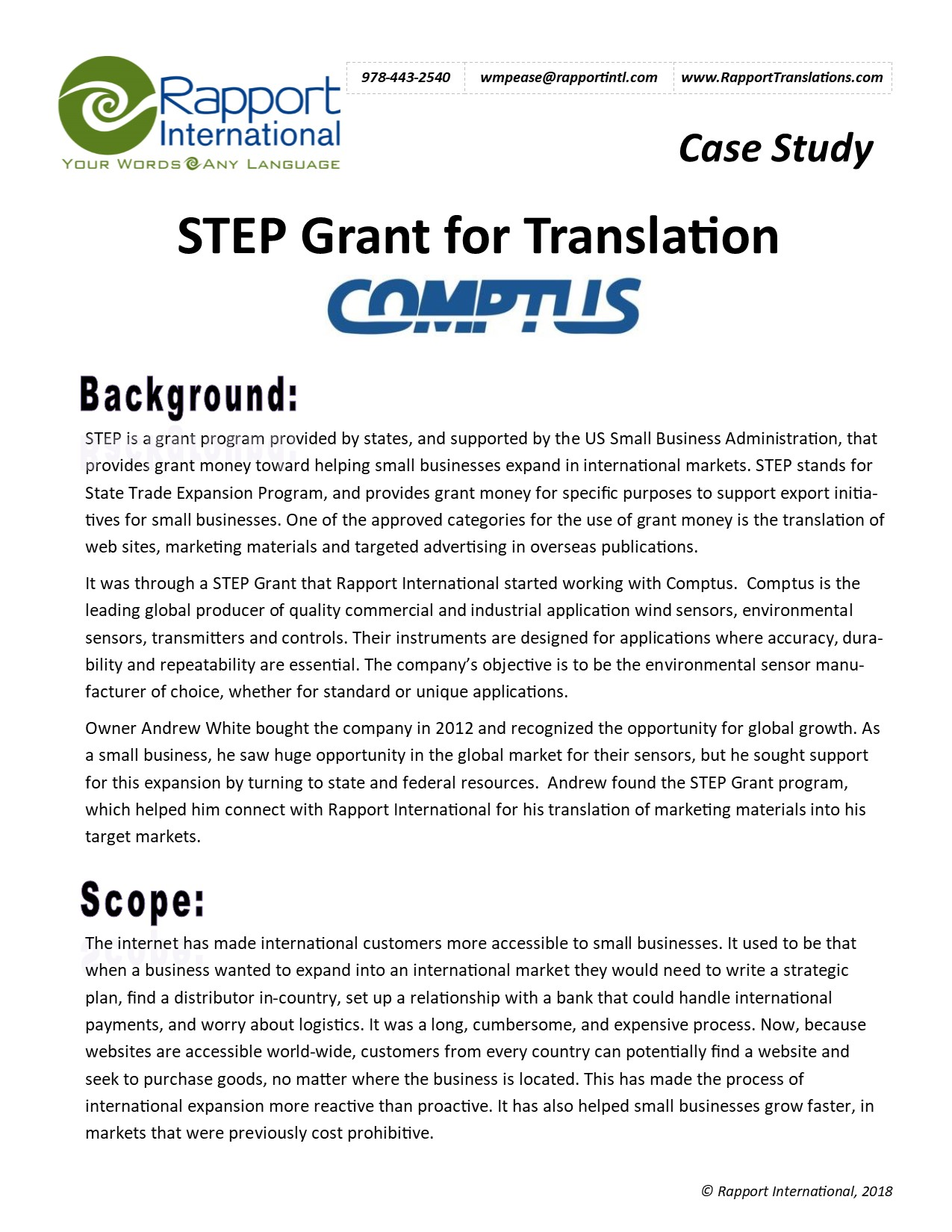 STEP Grant for Translation - Comptus Case Study Cover Photo